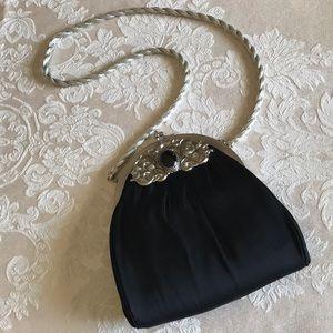 Vintage Black Satin & Silver Evening Bag
